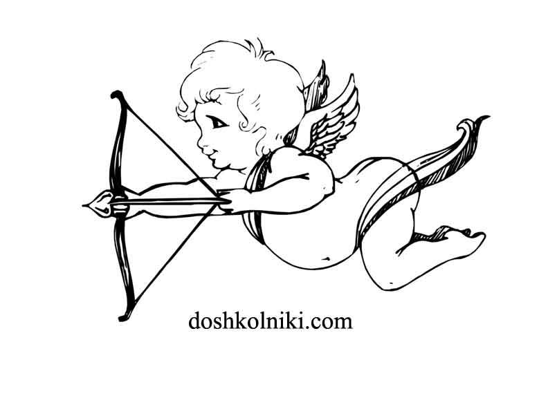 Картинка раскраска Купидон печатать бесплатно